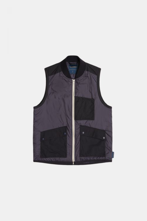 MIXED FABRIC BOMBER GILET